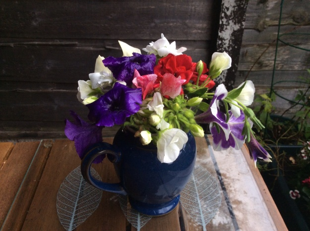Denby - Boston jug - sweetpeas, petunias, geraniums - 6 July 2015
