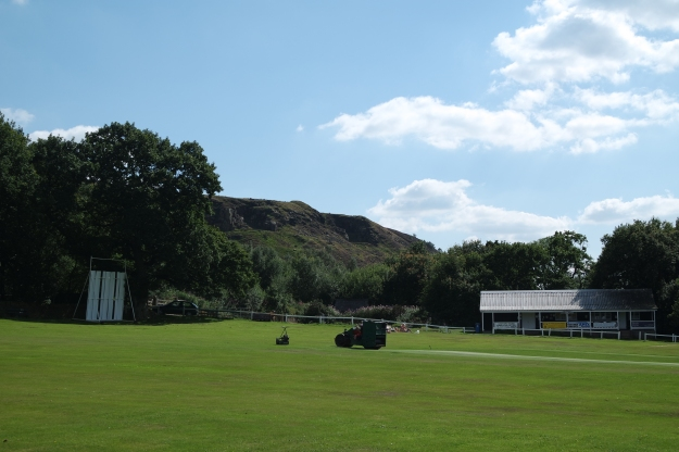 White Coppice Cricket Pavilion and the west pennine moors - 12 August 2015