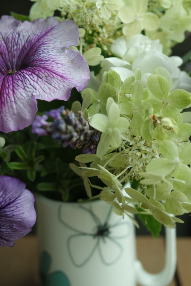 Hydrangea, petunia, pelargonium and lavender - Photo: copywright R Jones