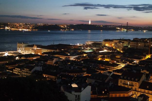 Lisbon by night view from the castle