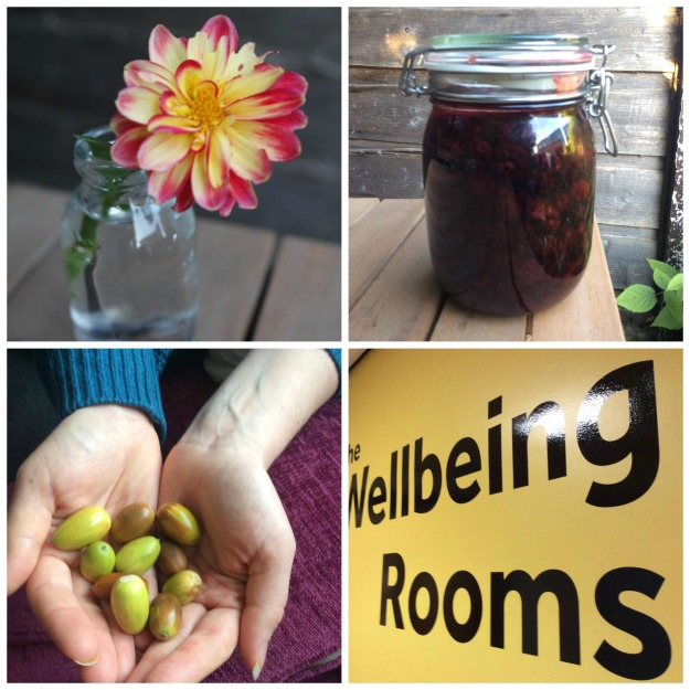 #100happy days dahlia, vinegar, acorns, mindfulness 1-4