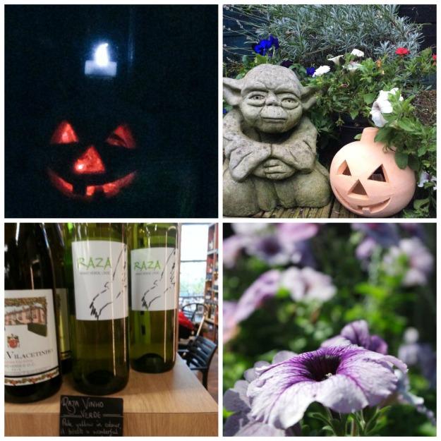 halloween, yoda at halloween, vino verde wine, petunias in the garden