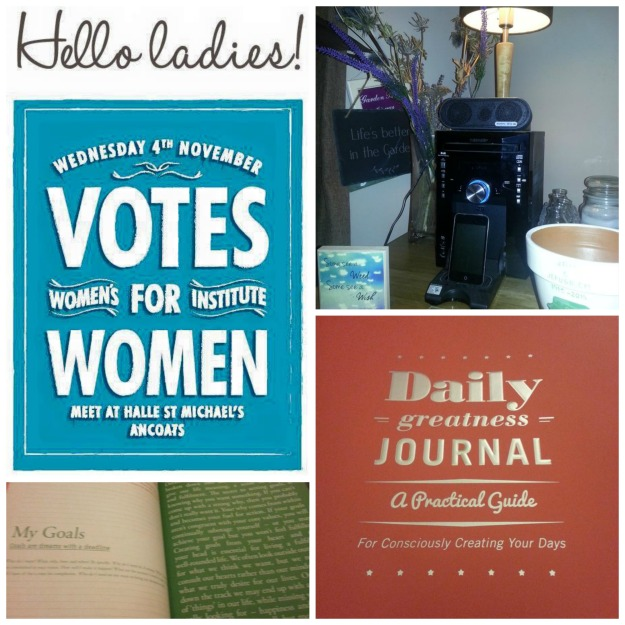 #100happydays 29/100 Cottonopolis WI about suffragettes, 30/100 Daily greatness journal, 31/100 music with my chap