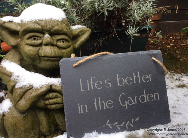 yoda in the snow and plaque Life's better in the Garden - copyright R Jones 2016