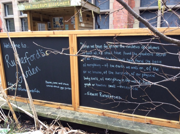 Rutherford's Garden at the University of Manchester - a blackboard 9 March 2016