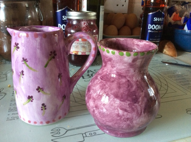 Purple jug with painted lavender and purple vase