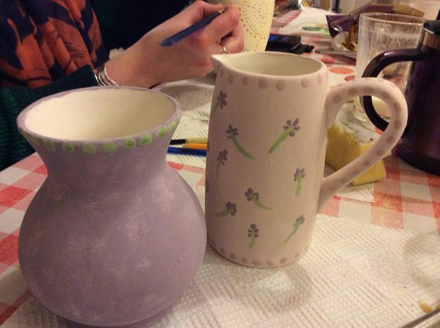hand painted purple vase and lavender jug