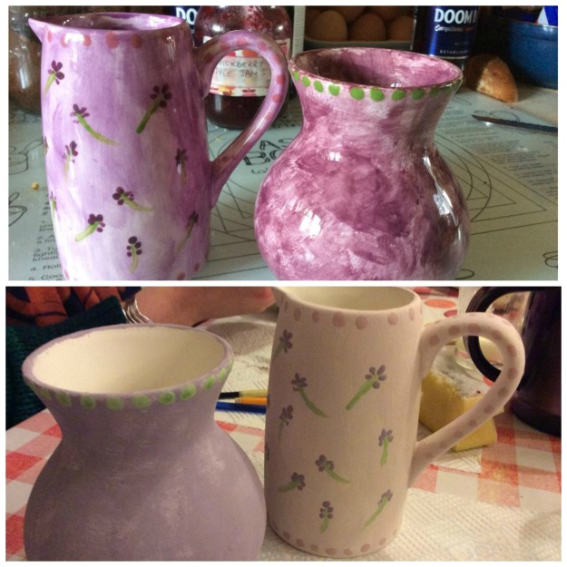 purple vase and jug - hjandpainted by me at Pottery Corner, Chorlton
