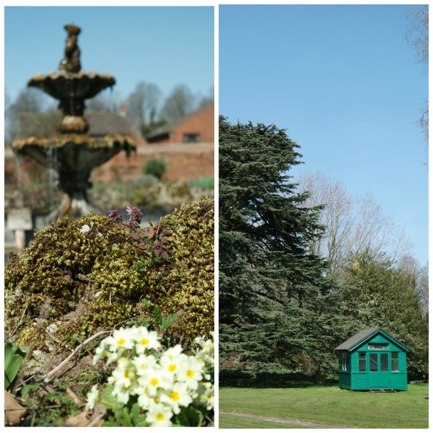 Fountain and summer house at Denman College - 3 April 2016