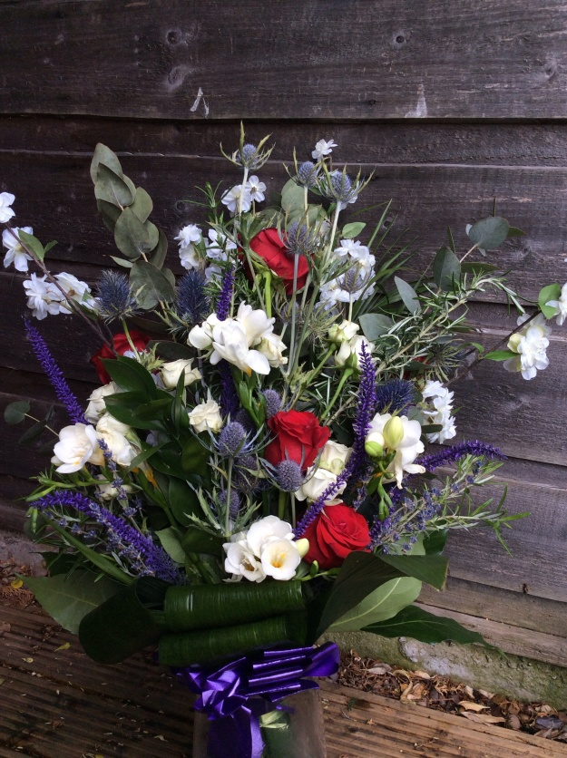 Flowers for Steve's funeral - roses, rosemary, lavender, sea holly