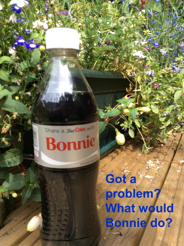 Bottle of coke named Bonnie and sign - what would bonnie do