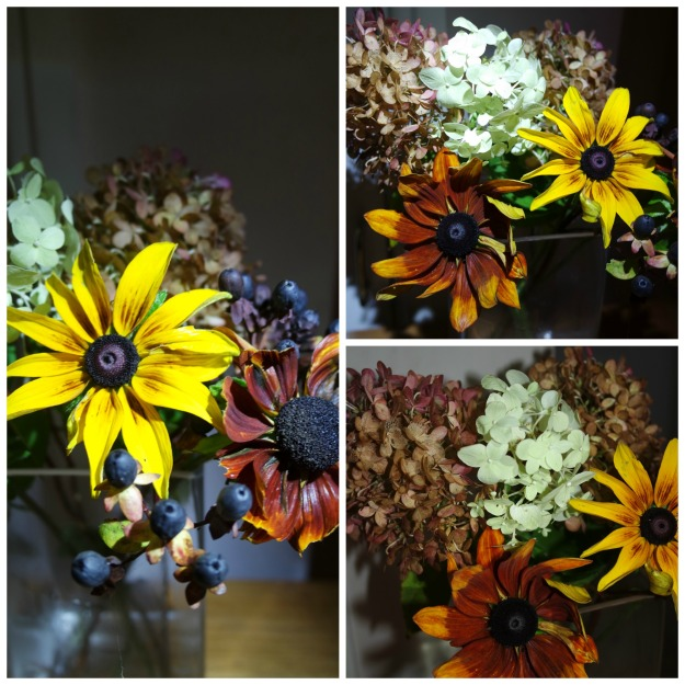 13 November 2016 - 3rd birthday for In a Vase on Monday -Hypericum, Rudbeckia, Hydrangea