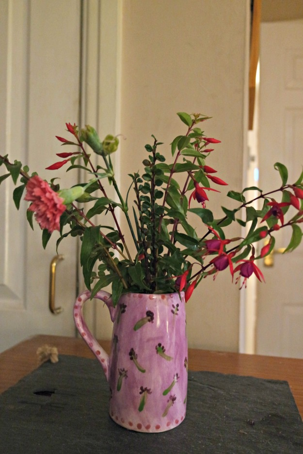 21 Nov 2016 - cotoneaster, fuchsia and dianthus in my hand painted lavender vase.