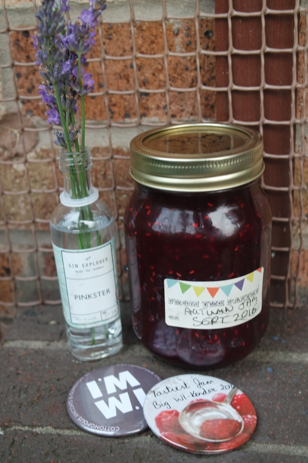 lavender in pinkster gin bottle with autumn fruit jam