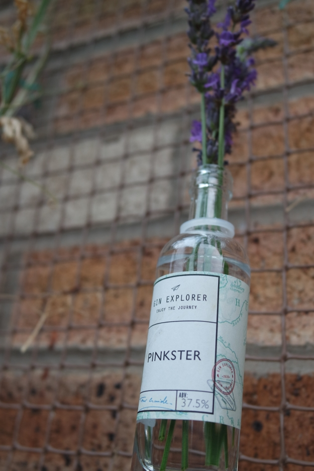 lavender in a small pinkster gin bottle