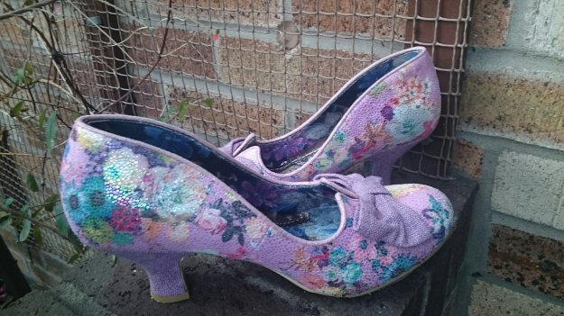 Pink mid heel sparkly floral shoes